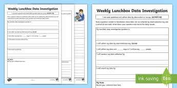 Weekly Lunchbox Data Investigation Activity Sheet - ACMSP118, data collection, pose questions, survey, Collect, worksheet, year 5 maths, Data Observatio