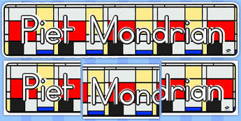 Piet Mondrian Display Banner (Australia) - banners, displays