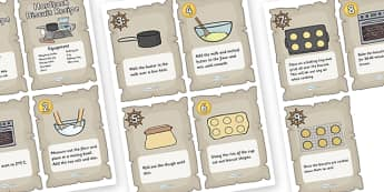 Pirate Themed Hardtack Recipe Cards - hardtack, hardtack recipe, recipe, pirates, pirates recipe, cooking, baking, recipe cards, hardtack recipe cards