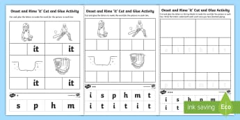 'it' Onset and Rime Differentiated  Activity Sheets-Australia - EYLF, Literacy, phonological awareness, onset and rime, cvc words, Worksheets, english, kindergarten