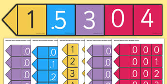 Decimal Place Value Number Cards - place value, value, place, placing,cards, decimal numbers, decimal, flashcards, game, activity, fun, right, numbers, numeracy, KS2, Maths, match, matching