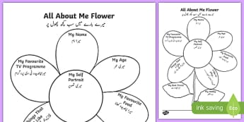 All About Me Flower Writing Template Urdu - urdu, Ourselves, All about me, family, Ks1, Y1, Year 1, EYFS, Reception, Growing, growth, flower, plant, petal