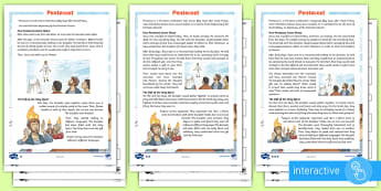 KS2 Pentecost Differentiated Comprehension Go Respond  Activity Sheets - ipad, Christian, Christianity, bible, story, Jesus, resurrection, reading