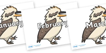 Months of the Year on Kookaburras - Months of the Year, Months poster, Months display, display, poster, frieze, Months, month, January, February, March, April, May, June, July, August, September
