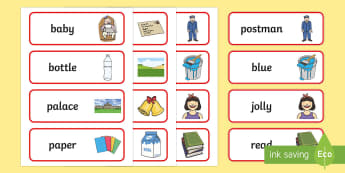 Word Cards to Support Teaching on The Jolly Postman - blue, postman, jolly, letter, Janet Ahlberg, Cinderella, word card, flashcards, cards, story, story book, book resources, Three Bears, wolf, gian, goldilocks, postcard, witch, palace