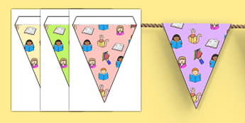 Library Themed Bunting - library, reading, books, classroom areas