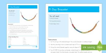 Pi Day Bracelet Craft Instructions - Pi, necklace, bracelet, craft, art