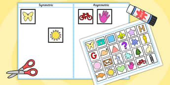 Symmetric and Asymmetric Sorting Activity - symmetry, sorting, 2D shape, symmetry, symmetric, asymmetric