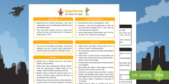 Superheroes Fact Sheet for Adults - EYFS, Early Years, KS1, Science, Understanding the World, exploration, discovery, finding out, exploration, facts, information, Batman, superman, spiderman, thor, catwoman