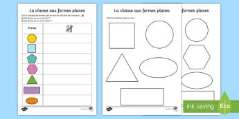 Feuille d'activités : La chasse aux formes planes - la chasse aux formes planes, formes planes, 2D, formes, géométrie, feuille d\'activités, activi
