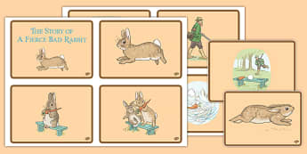 Beatrix Potter - The Story of a Fierce Bad Rabbit Story Sequencing Cards - beatrix potter, fierce, bad, rabbit