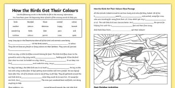 Aborginal Dreamtime How the Birds Got Their Colours Differentiated Activity Sheets-Australia, worksheet