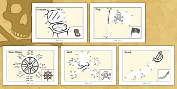 Counting in 10s Dot to Dot Sheets Pirates - count, counting aid