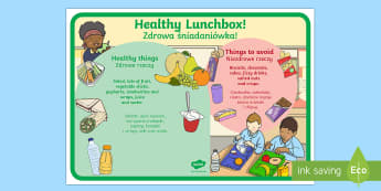 Healthy and Unhealthy Lunchbox Food Poster English/Polish  - health, eating, drinking, diet, fruit, vegetables,Polish-translation