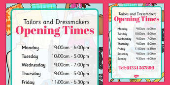 Tailors and Dressmakers Shop Opening Times - tailors, dressmakers, role play, opening times