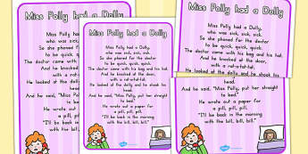 Miss Polly Had a Dolly Nursery Rhyme Poster - australia, rhyme