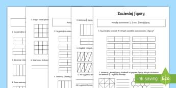 Karty o zróżnicowanym poziomie Zacieniuj figury Ułamki 1/2, 1/4 i 2/4 - ułamki, zwykłe, matematyka, część, figury, figura, ułamek, połowa, ćwierć, ćwiarka, zacien