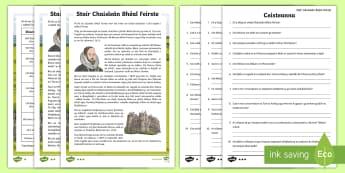 Stair Chaisleán Bhéal Feirste Léamhthuiscint le Leibhéil Éagsúla - Translations to Ulster Irish and Gaeilge, castle, Belfast, Belfast Castle, Comprehension, caisleán,