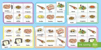 Bingo: La comida - comer sano, comida sana, comer saludable, comida saludable, fruta, verdura, dieta saludable, dieta s
