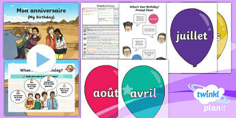 PlanIt - Year 3 French - Time Lesson 4: Birthdays Lesson Pack