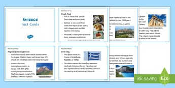 Facts About Greece Cards - facts, Greece, KS2, Greek food, physical features, islands, Aegean, Ionian, Mediterranean, Crete mou