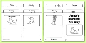 Black and White Mini Diary to Support Teaching on Jasper's Beanstalk - jaspers beanstalk, black and white, mini diary, diary, activity