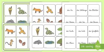 Wort und Bilderkarten für das Unterrichtsthema Der Grüffelo - Grüffelo, Lernhilfe, Wortschatz, Wort und Bildkarten,German
