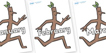 Months of the Year on Stick Man to Support Teaching on Stick Man - Months of the Year, Months poster, Months display, display, poster, frieze, Months, month, January, February, March, April, May, June, July, August, September