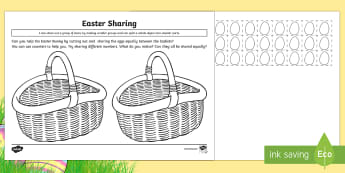 Easter Basket Sharing Activity - CfE Early Level Easter Themed Maths Activities, sharing, division, Easter, equal, half