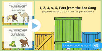 1, 2, 3, 4, 5, Pets from the Zoo Song PowerPoint - Dear Zoo, Rod Campbell, animals, letter to the zoo, zoo, singing, song time