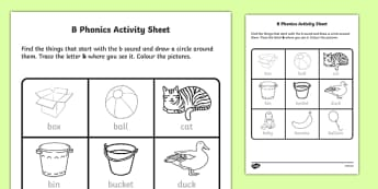 b Phonics Activity Sheet-Irish, worksheet