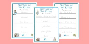 Beatrix Potter - The Tale of Tom Kitten Trace the Words Worksheets - beatrix potter, tom kitten