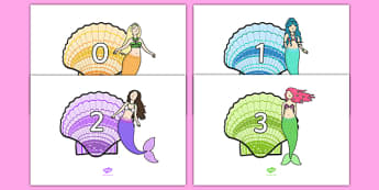 Numbers 0-20 on Mermaids - Mermaid, fantasy, topic,  foundation stage numeracy, Number recognition, Number flashcards, counting, number frieze, Display numbers, number posters, sea, seaside, under the sea