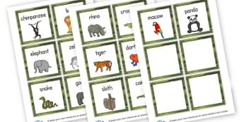 Animal Cards to Support Teaching on Rumble in the Jungle - Rumble in the Jungle Primary Resources - Story sack, Giles Andreae