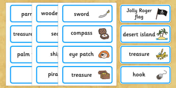 Pirates Word Cards - Pirate, Pirates, Topic, Word card, word cards, pirate, pirates, treasure, ship, jolly roger, ship, island, ocean