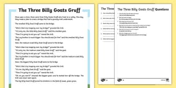 The Three Billy Goats Gruff Traditional Tales Differentiated Reading Comprehension Activity