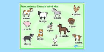 Farm Animals Word Mat Spanish - Animals, Farm, Word, Mat, Spanish