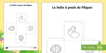 Feuille d'activités : La boîte à œufs de Pâques  - Pâques, poule, travaux manuels, boîte, chocolat, oeufs, Easter, chick, craft, colouring eggs, pres