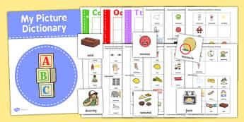 Sensory Vocabulary Picture Dictionary Word Card Set - dictionary