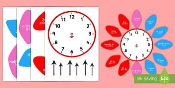 Analogue Clock Flower Labels - English/Mandarin Chinese - Analogue Clock Flower Labels - analogue, clock, flower, labels, lebels, labeles, surround, EAL