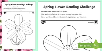 Spring Flower Reading Challenge Activity Sheet - Reading Challenges, spring, read, books,