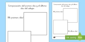 Ficha: El primer y el útlimo día de colegio - primer día, último día, vuelta al cole, fotos, fotografía, desarrollo, colegio, ,Spanish