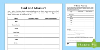 Find and Measure Activity Sheet - Learning from Home Maths Workbooks, estimate, measure, measures at home, length, worksheet