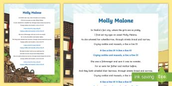 Molly Malone Song Lyrics - ROI- Irish Songs, ballads, song lyrics, Molly Malone, Ireland, Irish song, Seachtain na Gaeilge, St.