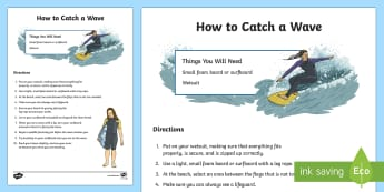How To Catch A Wave Procedure Writing Sample - Literacy, australian curriculum, How To Catch A Wave Procedure  Writing Sample, writing sample, samp