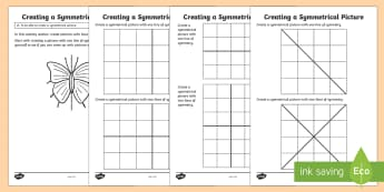 CfE First Level Creating Symmetrical Pictures Activity Sheet - CfE Numeracy and Mathematics, number, money, measure, shape, position, movement, data handling, info