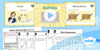 PlanIt - DT LKS2 - Battery Operated Lights Unit Lesson 3: Switches Lesson Pack - switches, series circuits, electrical systems, bulbs