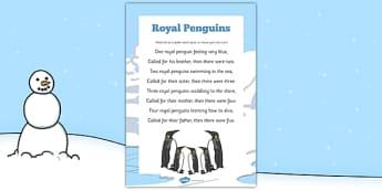 Royal Penguins Rhyme - Antarctic, Polar, Penguin, rhyme, song, eyfs, early years