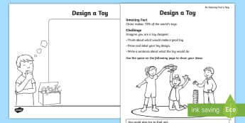 Design a Toy Activity Sheet - Amazing Fact Of The Day, activity sheets, powerpoint, starter, morning activity, May, design, design