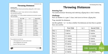 Throwing Distances Activity Sheet - Amazing Fact Of The Day, activity sheets, powerpoint, starter, morning activity, March, distance, me